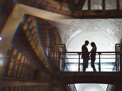 Eastern State Penitentiary Halloween Engagement